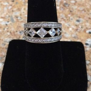 14K Gold Diamonique Multi-Stone Band Ring